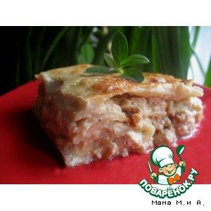 Рецепт: Лазанья с курицей и сливочным соусом