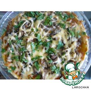 Рецепт: Пицца с курицей и грибами!