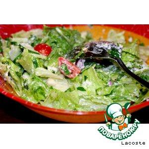 Рецепт: Зеленый салат с сырной заправкой
