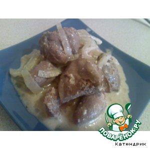 Рецепт: Печень, сердечко и пупки с подливкой