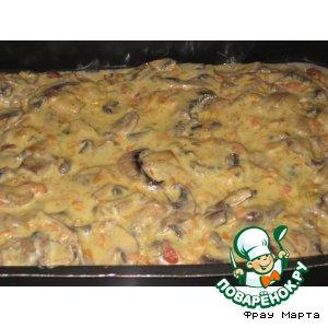 Рецепт: Свинина с фасолью под грибным соусом