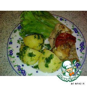 Рецепт: Кролик в вине с помидорами и розмарином
