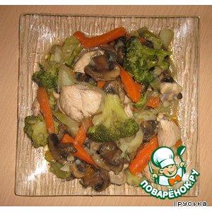 Рецепт: Куриное рагу с брокколи и грибами