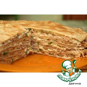 Рецепт: Блинный торт с курицей и индейкой