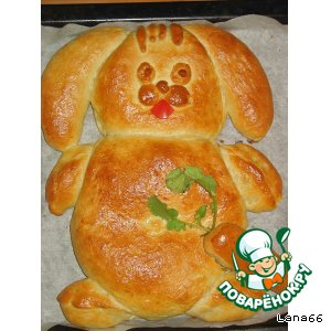 "Рецепт: Пирог ""Зайка с морковкой"""