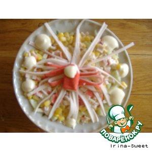 Рецепт Салат с кукурузой, рисом, крабовыми палочками и ананасом