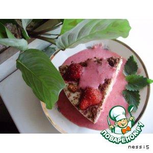 Рецепт: Десерт ревенно-творожный с клубничной подливкой