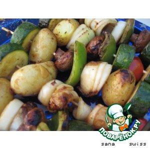 Рецепт: Вегетарианский шашлык или овощи для гриля