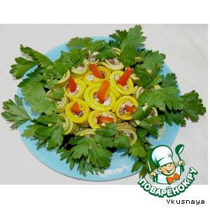 Рецепт: Кабачки с грибами и плавленым сыром