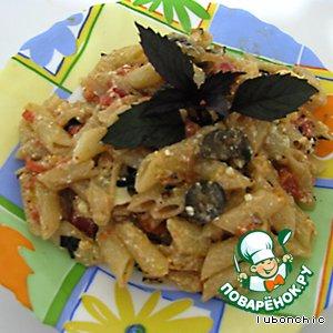 Рецепт: Макароны с помидорами, оливками и фетой