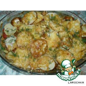 Рецепт: Картошка с куриным фаршем и овощами,  запечeнная в духовке