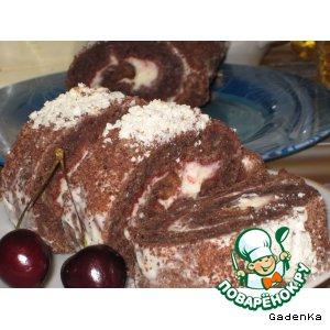 Рецепт: Рулет шоколадно-банановый с сырным кремом