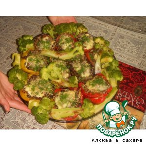 Рецепт: Фаршированные овощи с гарниром из брокколи