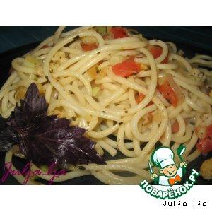 Рецепт: Спагетти с кабачками и цветной капустой