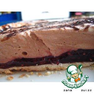 Рецепт: Малиновый   торт-десерт   с   шоколадным   кремом
