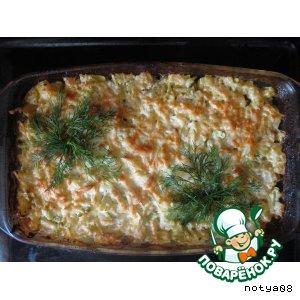Рецепт: Кабачок с куриным филе и грибами