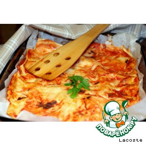 Рецепт: Лазанья с сыром, зеленью и творогом
