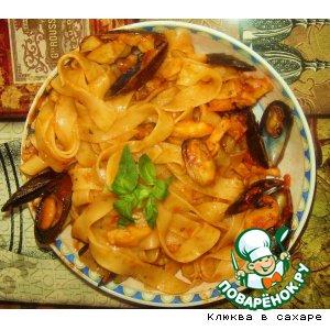 Рецепт: Феттучини Катамаран с морепродуктами и томатным соусом