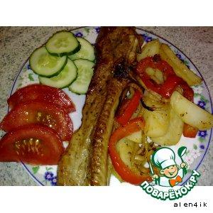 Рецепт: Грудинка, маринованная и запеченная с овощами