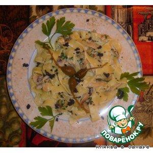 """Рецепт: Паста """"Многоточие"""" с шампиньонами  и сливочным соусом"""