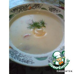 Рецепт: Сырный суп-пюре с сосисками