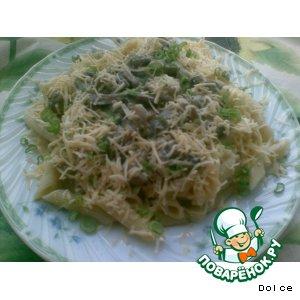Рецепт: Паста с грибами, луком -пореем, сливками и сыром