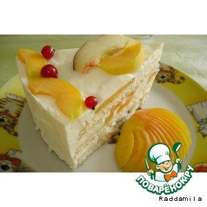 Рецепт: Торт со сметанным суфле и фруктами