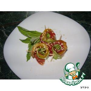 Рецепт: Овощные рулетики с кунжутом