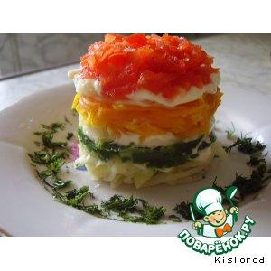 """Рецепт: Закуска """"Овощная башенка"""""""