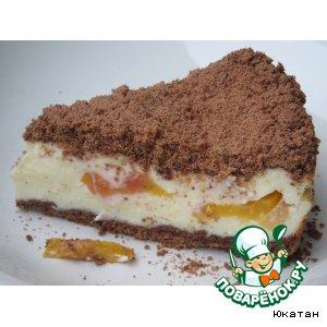 Рецепт: Пирог творожный с персиками Искушение в раю