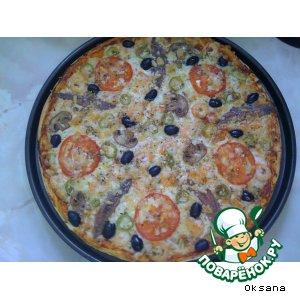 Рецепт: Пицца с креветками и анчоусами