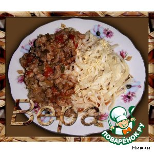 Рецепт: Домашняя лапша с мясным соусом
