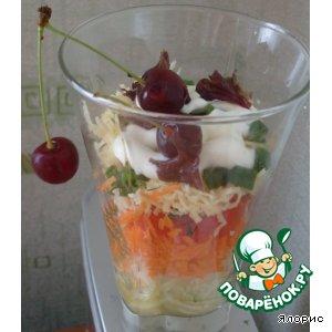 Рецепт: Слоеный салатик с вишней
