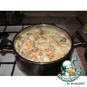 Рецепт: Лапша  рисовая-удон  с  морепродуктами