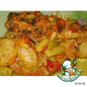 Рецепт: Рыба с овощами, томленная в духовке