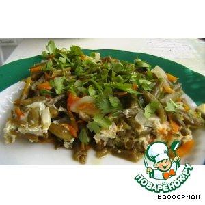 Рецепт: Фасоль зеленая тушеная с овощами
