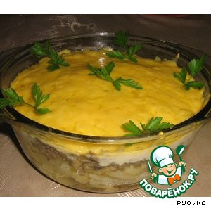 Рецепт: Запеканка с картофелем, фаршем и грибами
