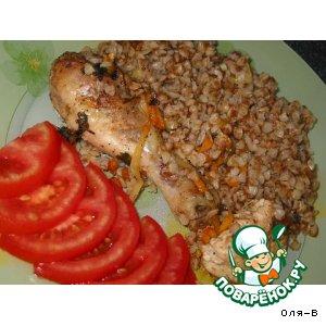 Рецепт: Гречка с курицей, томленная в духовке
