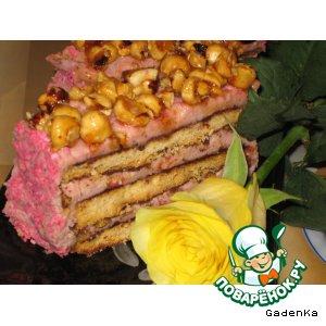 Рецепт: Торт землянично-кокосовый с глазированными орешками