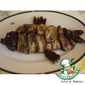 Рецепт: Баклажанный рулет с рыбным филе и овощами