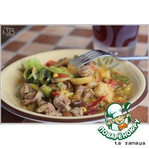 Рецепт: Куриные желудки с опятами и овощами в кисло-сладком соусе