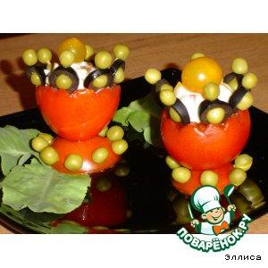 Рецепт: Овощная закуска в салатнице из помидора