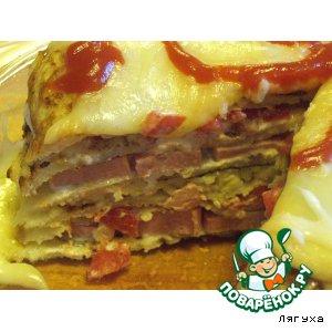 Рецепт: Закусочный торт из картофеля с сосисками, сыром и помидорами
