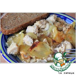 Рецепт: Картофельная запеканка с курицей и шампиньонами
