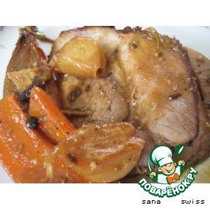 Рецепт: Запеченное мясо в горчичном соусе