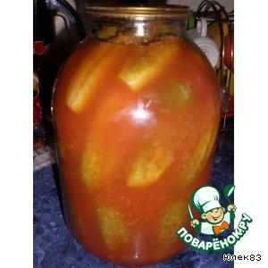 Рецепт: Огурцы консервированные в томатном соке