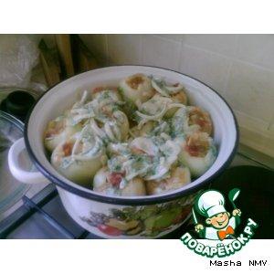 Рецепт: Перец, фаршированный маринованной курицей и овощами