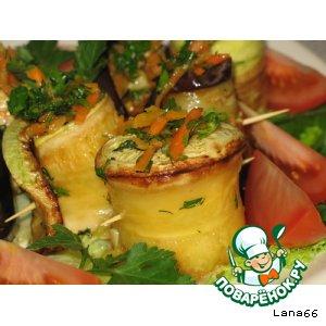 Рецепт: Баклажан и кабачок с морковкой по-корейски