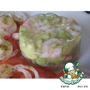 Рецепт: Холодный    террин   с   креветками   и   авокадо