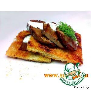 Рецепт: Печень под сливочным соусом «фламбе»